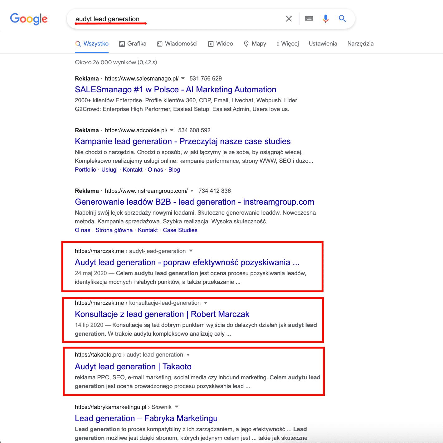 audyt lead generation screen google
