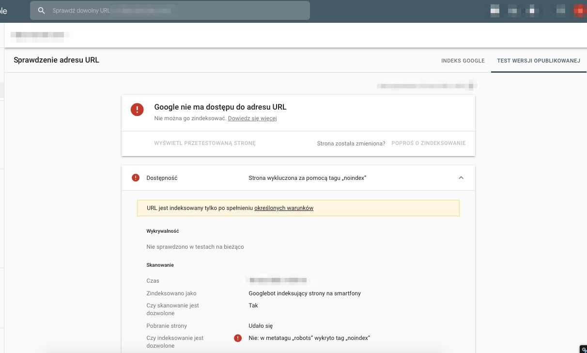 test ab google search console noindex