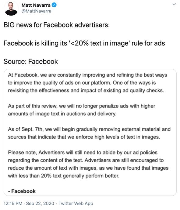 Zniesiono wymóg 20% tekstu na grafice Facebook