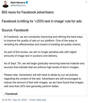 Zniesiono wym贸g 20% tekstu na grafice Facebook
